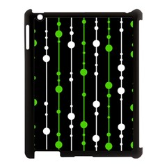 Green, white and black pattern Apple iPad 3/4 Case (Black)
