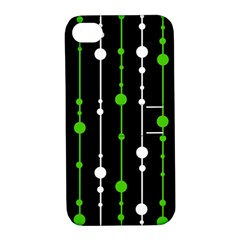 Green, white and black pattern Apple iPhone 4/4S Hardshell Case with Stand
