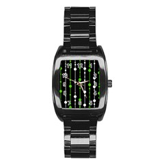 Green, white and black pattern Stainless Steel Barrel Watch
