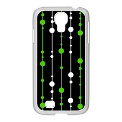 Green, white and black pattern Samsung GALAXY S4 I9500/ I9505 Case (White)