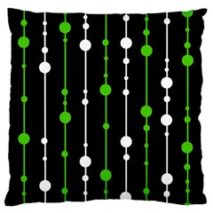 Green, white and black pattern Large Flano Cushion Case (One Side)