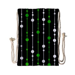 Green, white and black pattern Drawstring Bag (Small)