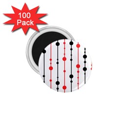 Red, black and white pattern 1.75  Magnets (100 pack)
