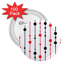 Red, black and white pattern 2.25  Buttons (100 pack)