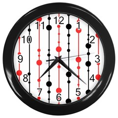 Red, black and white pattern Wall Clocks (Black)