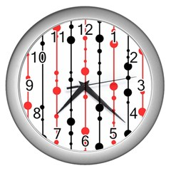Red, black and white pattern Wall Clocks (Silver)