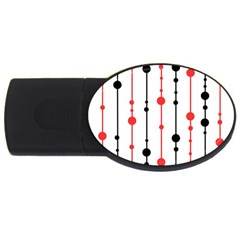 Red, black and white pattern USB Flash Drive Oval (1 GB)