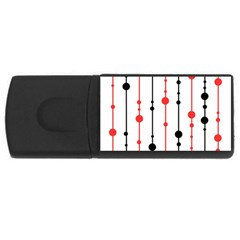 Red, black and white pattern USB Flash Drive Rectangular (1 GB)