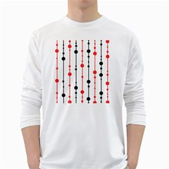 Red, black and white pattern White Long Sleeve T-Shirts