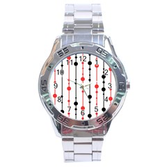 Red, black and white pattern Stainless Steel Analogue Watch