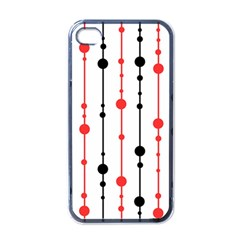 Red, black and white pattern Apple iPhone 4 Case (Black)