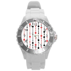 Red, black and white pattern Round Plastic Sport Watch (L)