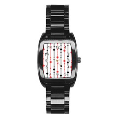Red, black and white pattern Stainless Steel Barrel Watch