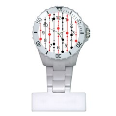 Red, black and white pattern Plastic Nurses Watch