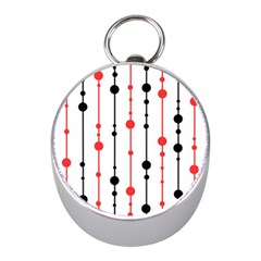 Red, black and white pattern Mini Silver Compasses