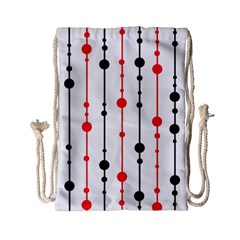 Red, black and white pattern Drawstring Bag (Small)