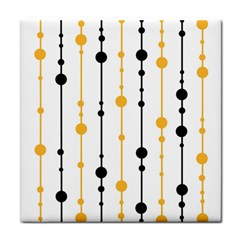 Yellow, black and white pattern Tile Coasters
