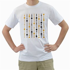 Yellow, black and white pattern Men s T-Shirt (White) (Two Sided)