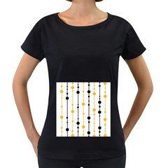 Yellow, black and white pattern Women s Loose-Fit T-Shirt (Black)