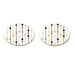 Yellow, black and white pattern Cufflinks (Oval)