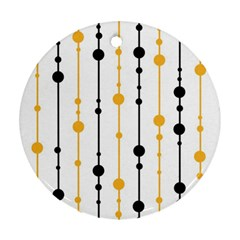 Yellow, black and white pattern Round Ornament (Two Sides)
