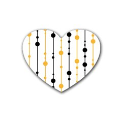 Yellow, black and white pattern Rubber Coaster (Heart)