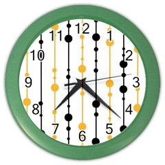 Yellow, black and white pattern Color Wall Clocks