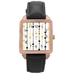 Yellow, black and white pattern Rose Gold Leather Watch