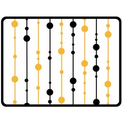Yellow, black and white pattern Double Sided Fleece Blanket (Large)