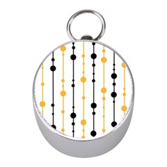 Yellow, black and white pattern Mini Silver Compasses