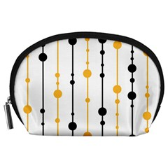 Yellow, black and white pattern Accessory Pouches (Large)