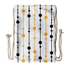 Yellow, black and white pattern Drawstring Bag (Large)