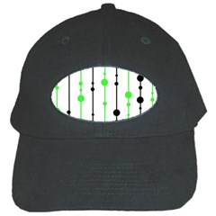Green pattern Black Cap