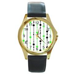 Green pattern Round Gold Metal Watch