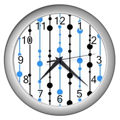 Blue, white and black pattern Wall Clocks (Silver)