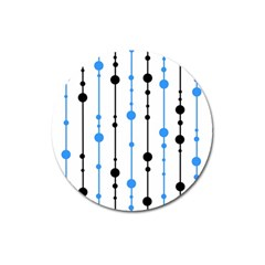Blue, white and black pattern Magnet 3  (Round)