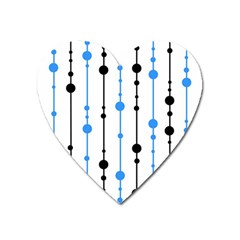 Blue, white and black pattern Heart Magnet