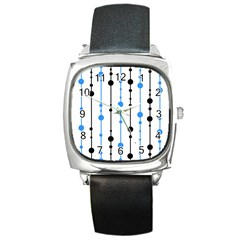Blue, white and black pattern Square Metal Watch