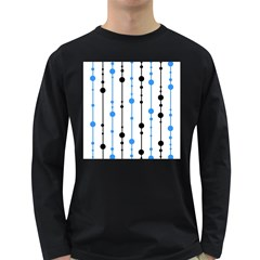 Blue, white and black pattern Long Sleeve Dark T-Shirts