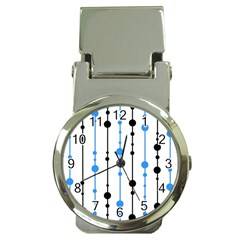 Blue, white and black pattern Money Clip Watches