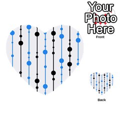 Blue, white and black pattern Multi-purpose Cards (Heart)