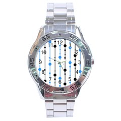 Blue, white and black pattern Stainless Steel Analogue Watch