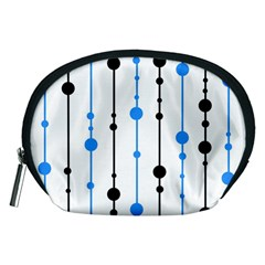Blue, white and black pattern Accessory Pouches (Medium)