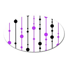Purple, white and black pattern Oval Magnet