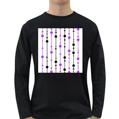 Purple, white and black pattern Long Sleeve Dark T-Shirts