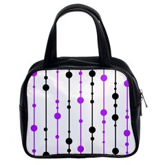 Purple, white and black pattern Classic Handbags (2 Sides)