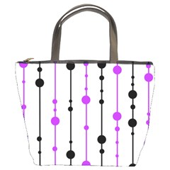 Purple, white and black pattern Bucket Bags