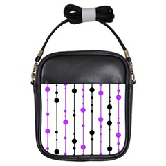 Purple, white and black pattern Girls Sling Bags