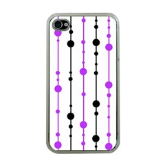 Purple, white and black pattern Apple iPhone 4 Case (Clear)