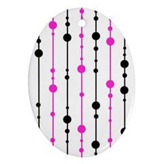Magenta, black and white pattern Ornament (Oval)